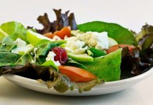 Plate of salad with cheese